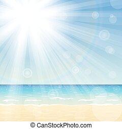 Paisaje marino con sol brillante