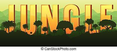 paisaje, moderno, vector, illustration., horizontal, tropical, resumen, bosque, verde, silhouette., rainforest, fondo., selva, concept.