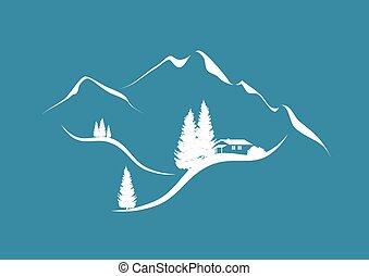 paisaje, montaña, choza, abetos, alpino