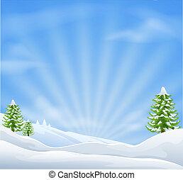 paisaje, navidad, plano de fondo, nieve