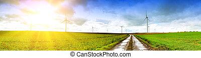 Paisaje panorámico con carretera rural