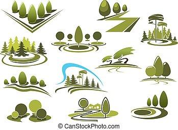 paisaje, parque, iconos, bosque, verde, jardín