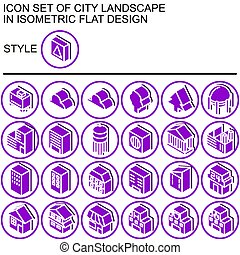 paisaje, plano, conjunto, icono, diseño, ciudad, 170