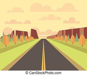 Paisaje rural vector con carretera