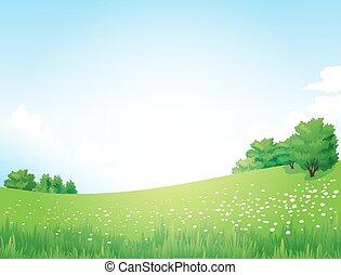 paisaje, vector, árboles verdes
