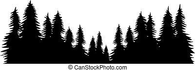 paisaje, vector, diseño, ilustración, bosque