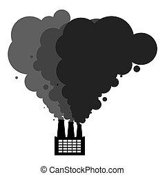 paisaje., venenoso, ambiental, vector, catastrophy., factory., ecológico, negro, planta industrial, humo, emissions., pollution., ilustración, tubos