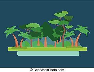 Paisaje verde bosque. Ilustración de vectores