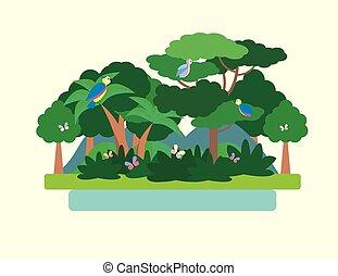 Paisaje verde bosque tropical. Ilustración de vectores