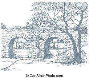 paisaje., viejo, vector, parque, puente, piedra