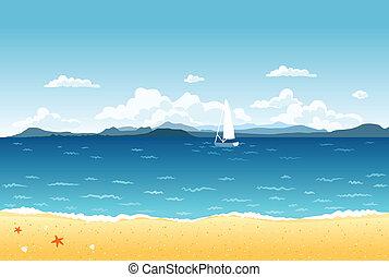 Paisajes de mar azul de verano con veleros y montañas en el horizonte.