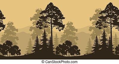 Paisajes sin mar, árboles y siluetas de montaña