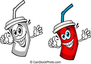 paja, fresco, bebida, soda