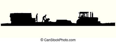 paja, vector, tractor, tirar, baler, eps8-silhouette, campo