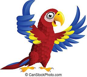 Pajaro Macaw con pulgar hacia arriba