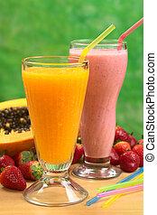 pajas, papaya, jugo, paja, foco, fresa, foco, juice), milkshake, (selective