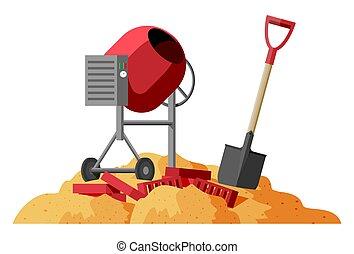 pala, ladrillos, batidora, concreto, pila, sand.