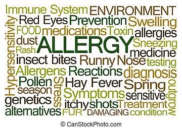 palabra, alergia, nube