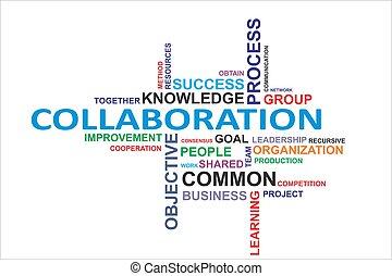 palabra, colaboración, -, nube