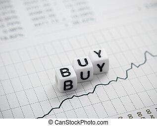Palabra compra de letras cubo en el informe gráfico