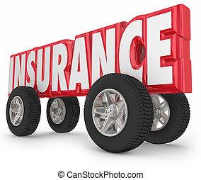 palabra, conducción, coche, asegurado, camión, política, ruedas, seguro
