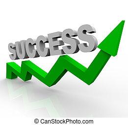 Palabra de éxito sobre flecha de crecimiento verde