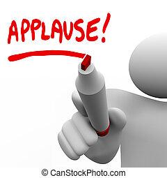 Palabra de aplauso escrita por el hombre que aprecia