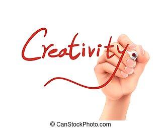 Palabra de creatividad escrita a mano