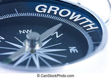 Palabra de crecimiento en la brújula