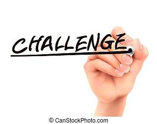 Palabra de desafío escrita por mano 3D