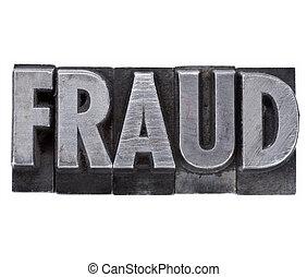 Palabra de fraude en tipo metal