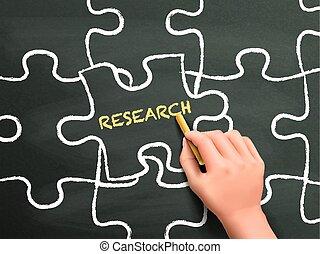Palabra de investigación escrita en rompecabezas pieza por mano