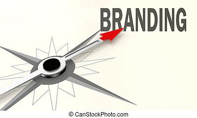 Palabra de marca en brújula con flecha roja