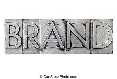 Palabra de marca en tipo metal
