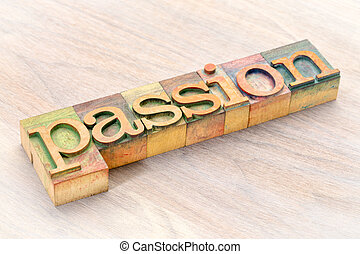 Palabra de pasión en madera