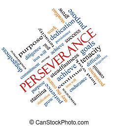 Palabra de perseverancia el concepto de nube en ángulo