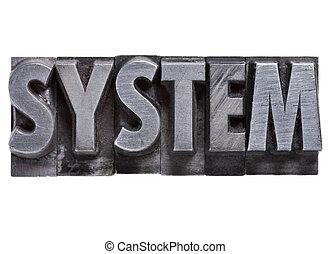 Palabra de sistema en tipo metal