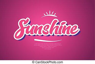 Palabra de Sol texto tipografía de icono de diseño rosa