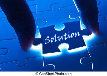 Palabra de solución sobre rompecabezas