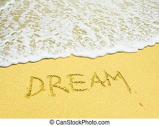 Palabra de sueño escrita en la playa