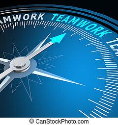 Palabra de trabajo en equipo en brújula