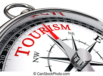 Palabra de turismo sobre brújula conceptual