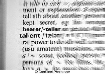 palabra, diccionario, -, zumbido, efecto, talento