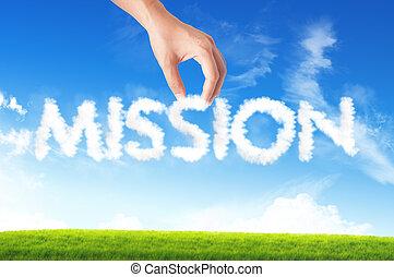 palabra, empresa / negocio, texto, tenencia de la mano, misión, nube