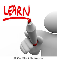palabra, escrito, aprender, marcador, enseñanza, hombre