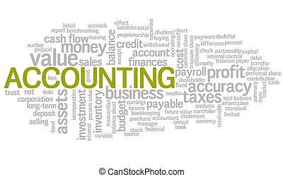 palabra, etiquetas, vector, contabilidad, burbuja, nube