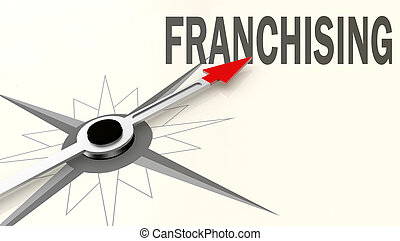 palabra, flecha, compás, rojo, franchising