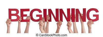 palabra, gente, derecho, manos de valor en cartera, principio, rojo