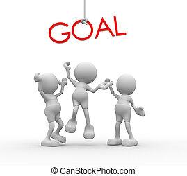 "palabra, gente, -, ""goal"", hombres, persona, rojo, 3d"