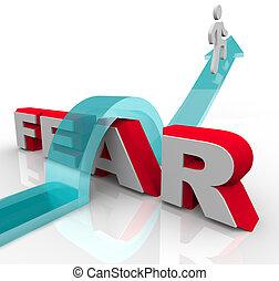 palabra, golpe, -, encima, miedos, saltar, conquistar, miedo, su